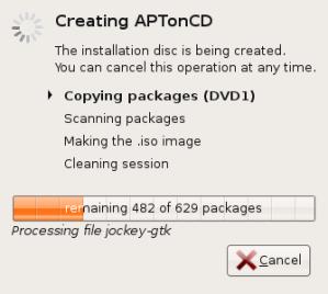 Pembuatan CD/DVD sedang berlangsung