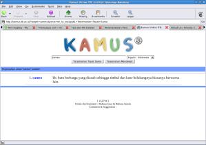 Tampilan kamus online ITB