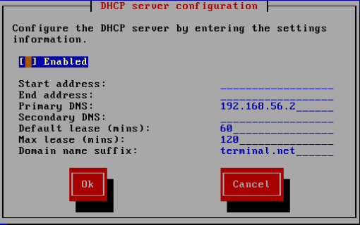 DHCP server configuration