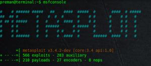Console milik metasploit